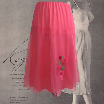 Vintage Half Slip NOS Vanity Fair Nylon Slip Coral Layered Sheer Over Nylon Knit Flower Applique New Old Stock