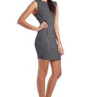 Black bodycon dress in check print
