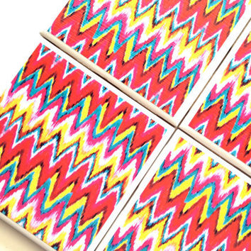 Ikat Coasters, Ceramic Tile Set, Drink Coaster, Ikat Chevron, Ikat Design, Red Ikat Print, Furniture Coaster,