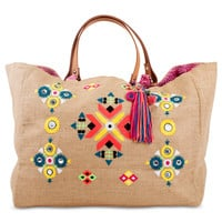 Zahara Embroidered Beach Tote