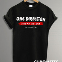 one direction shirt 1D where we are t-shirt printed black unisex size (CR-28)