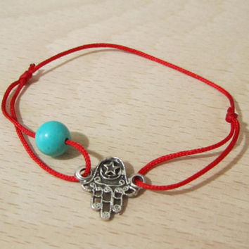 Hamsa bracelet with red Chinese silk cord and turquoise by MUGE