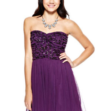 Billie Mesh Sequin Top Tulle Dress - Purple