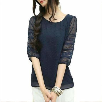 Style Plus Size Sheer Blouses Short Sleeve Blouses Chiffon Shirts Big Size Women Clothes Womens Tops