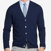 Yorkshire Merino Slim Cardigan - Navy