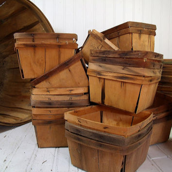 Vintage 6 Mini Wood Berry Baskets - Farm House Fresh Finds for Storage - 6 Rustic Organizer Bins Collection - Half Dozen Small Wood Baskets