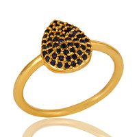 18K Yellow Gold over Sterling Silver Pave Set Blue Sapphire Stackable Ring