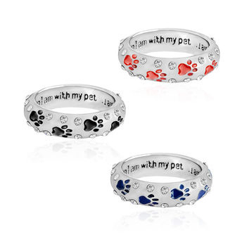 When I am with my pet,,,I am complete Animal Pet Ring Dog paw footprints Simple Jewelry Ring For Dog parent