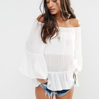 Glamorous Smock Top With Frill Hem