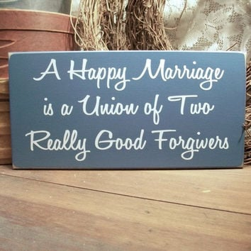 Wood Sign A Happy Marriage Wedding Anniversary Wall Decor