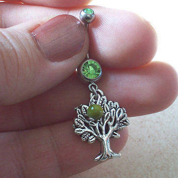 Tree of life Belly Ring with Green Bead Accent Body Jewelry 14ga