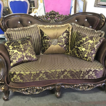 """Italian Crystal Tufted Sofa with  Carved Frame  - 64 1/2"""""""
