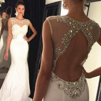 Charming White Beading Prom Dresses Long Sexy Backless Prom Party Dress Formal Gowns For Evening