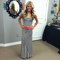 Black and White Striped Assymetrical Maxi Dress