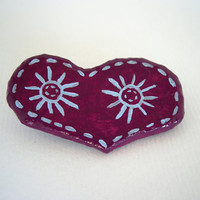 Heart brooch - Plum paper mache brooch - eco friendly jewelry