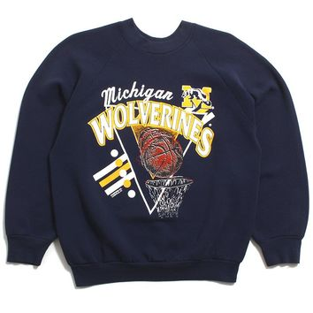 University Of Michigan Basketball Triangle Design Crewneck Sweatshirt Navy (Large)