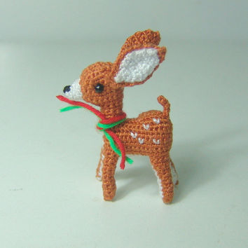 Mini fawn- Crochet stuffed animal - Amigurumi miniature