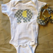 Matching Gray Baby Elephant Onesuit and Shoes by MarCuties on Etsy