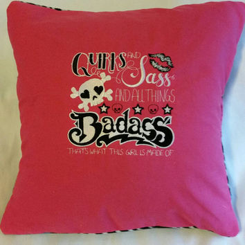 skull quirks and sass and all things badass skull handmade embroidered pillow cover.  zebra stripes and butterflies  fleece back