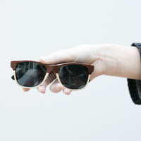 Free Shipping Handcrafted Wooden sunglasses Two Tone Veneer Eyewear // Mahogany and Poplar