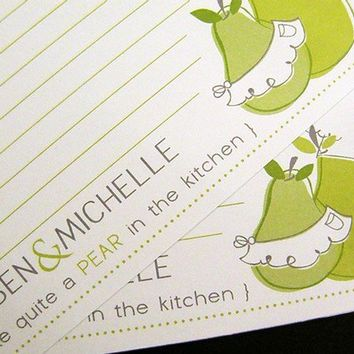 Perfect Pear in the KitchenRecipe CardsSet of 12 by littletoad