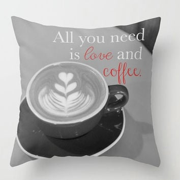 Coffee Pillow, Coffee Pillow Cover, All you need is love, love and coffee, Cafe Pillow, Coffee Decor, Coffee Art, Coffeehouse, Heart, Latte