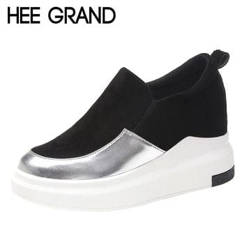 HEE GRAND Women Casual Shoes Brilliant Material Shoes Women Cool Work Boots Spring and Autumn Vulcanized Flats XWC1253
