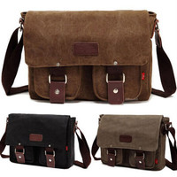 Men Retro Canvas School Satchel Military Shoulder Bag Messenger Bags