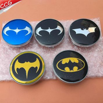 Batman Dark Knight gift Christmas ShuaiZhong  4pcs 60mm Batman logo car emblem Wheel Center Hub Cap Rim badge decoration covers styling AT_71_6