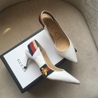 Gucci Leather Web slingback pump