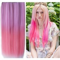 Uniwigs Ombre Dip-dye Color Clip in Hair Extension 60cm Length Pink Color Straight for Fashion Women Tbe0022