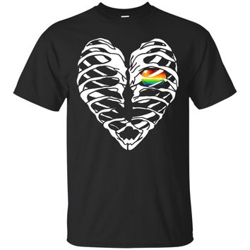 Vintage Distressed Graphic Ribcage Heart LGBT Pride TShirt