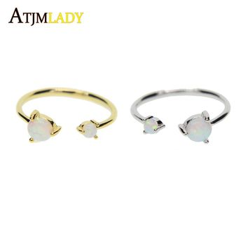 high quality open sized women rings,Fashion two opal stone prong setting classic dainty gold color open adjust stone ring ladies