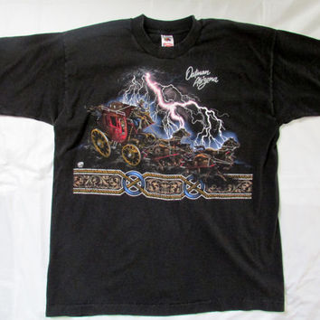 13-0913 Black Oatman, Arizona Souvenir T Shirt / Oatman, Arizona / Black Stagecoach T Shirt / Size XL