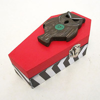 Twin Peaks inspired Wood Coffin Box - David Lynch Trinket Box Gothic Horror Decoupage