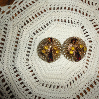 Vintage Western Germany Signed  Multi Rhinestone Filigree Clip On Earrings