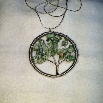 Tree Agate Tree Of Life Heart Wire Wrap Silver Plated Necklace
