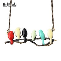 Artilady new lovely bird on branch necklace fashion pendant women necklace NM