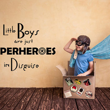 Wall Decals Little Boys Are Just Superheroes Quote Decal Kids Nursery Vinyl Stickers Home Bedroom Decor Playroom Art T95