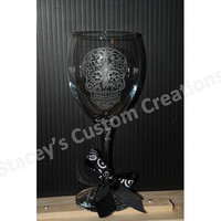 Etched Sugar Skull Wine Glass
