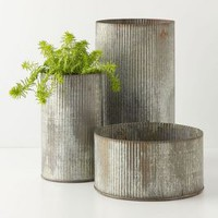 Ridged Zinc Pot by Anthropologie Brown