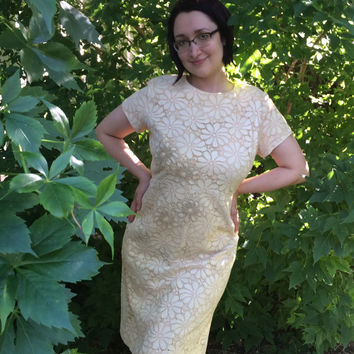 60s Floral Lace Dress Ivory Cocktail Party 1960s Vintage Mann-Mate Plus Size