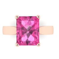 Classic Solitaire Engagement Ring 14K Rose Gold with 9x7mm Emerald Pink Sapphire Center - V1100