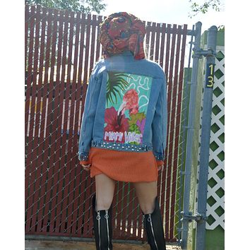 NEW Hand Painted Miami ViBes Denim Jacket