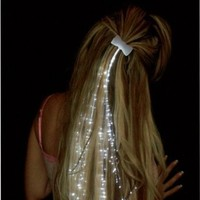 Amazon.com: Glowbys LED Fiber Optic Light-up White Hair Barrette ...(Set of 4): Beauty