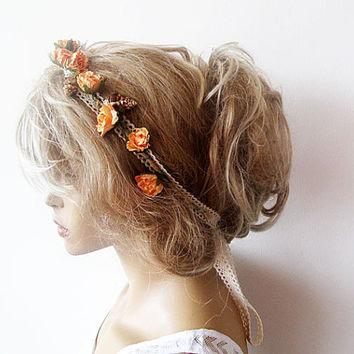 Wedding Circlet, Bridal Head Piece, Mermaid crown, Peach Flowers Boho Tiara, Wedding Hair Accessories