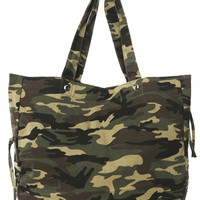 Camouflage Tote With Pop Lining  | Shop Accessories at Wet Seal