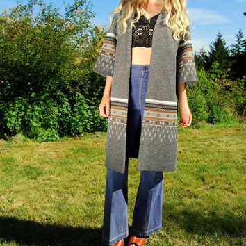 60's Hippie Jacket Claralura Original Southwestern Boho Chic Needlepoint Knit Sweater Open Coat Ethnic Native American Duster Long Cardigan