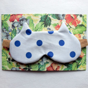 Cat Sleep Mask - Polka Dots Eye Mask - Soft Comfortable - Cute Women's Eyemask - Tan White Blue Night Mask - Elastic Neutral Colored Flannel