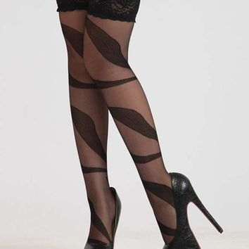 Sexy Black Patterned Stockings with Lace Top
